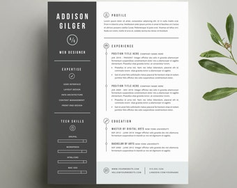 Resume Template and Cover Letter Template for Word   Digital Instant Download   DIY Printable 3 Pack   The Addison   Modern Two Page Design