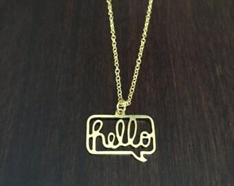 hello, hello necklace, hello pendant, hello jewelry, simple necklace, unique necklace, hi necklace, gold necklace, gold jewelry, necklace
