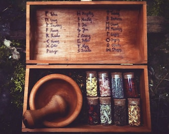 Witch Box - Herb Witch Box - Mix your own blends - Pagan - Runes - wooden Box