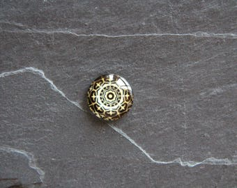 Cabochon 20 mm psychedelic black and beige