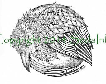 Raven Art Print, Raven Art, Raven Drawing, Pen and Ink, Bird Illustration, Raven Decor, Raven Home Decor, Raven Print