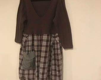 The Maisie Dress:  Upcycled chocolate brown sweater, small-medium,  plaid, eco friendly, one of a kind, boho chic, holiday  Melbury Road.