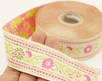 35 mm White & Pink Floral Jacquard ribbon (1.37 inches), Jacquard trim, Sewing Trim - Collar Trim, Ribbon by the yards, Vintage ribbon