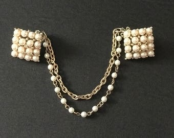 Sweater Clip Pin Faux Pearls Goldtone