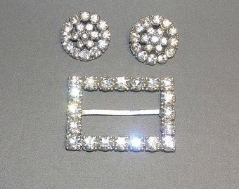 SALE!  50% Off!   Sparkling Clear Rhinestone Buckle and Two Clear Rhinestone Buttons
