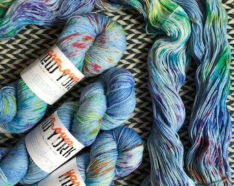 Hand-dyed yarn, Indie dyed yarn, hand dyed yarn CARE BEAR STARE -- dyed to order -- Broadway sparkle sock merino/ nylon/ stellina yarn