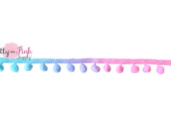 20mm Cotton Candy Ombre Pom Pom Trim by the Yard-Pom Pom- Sewing Trim- Fabric Trim- Pom Pom Fringe