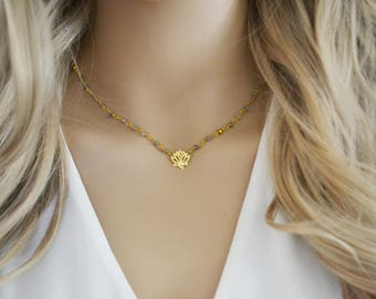 Lotus Necklace, Gold Lotus Necklace, Gemstone Necklace, Simple Gemstone Necklace, Dainty Necklace, Everyday Necklace, Necklaces, Jewelry
