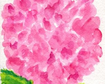 Pink Hydrangeas original watercolor painting, Small flower art, watercolors painting 4 x 6 pink hydrangeas, pink flower artwork floral
