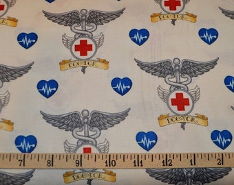 Quilting Treasures. What the Doctor Ordered. Doctor Symbol Ecru - Cotton fabric BTY - Choose your cut