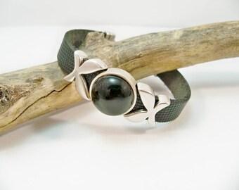 Black leather bracelet, leather bracelet, silver and black, leather slider