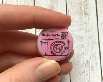 Bookstagram Pinback Button, Instagram Badge, Photography, Book Photography, Book Lover Pin, Bookworm Gift, Quote Pin Button, Book Lover
