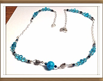 Handmade MWL black, blue and silver necklace. 0304