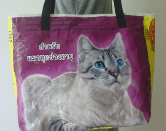 Large upcycled tote shopping bag handcrafted from a recycled cat food bag