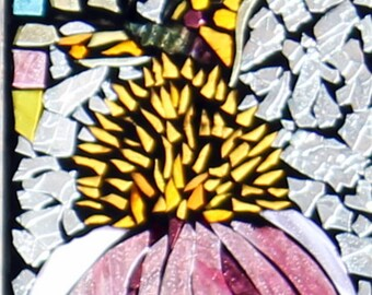 Suncatcher, Purple Cone flower with butterfly     Stained Glass SunCatcher or wall Decoration