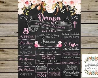 PIZARRA de PRIMERA COMUNION - First Comunion Chalkboard - English & Spanish - Pizarra de Mi Primera Comunion - My First Comunion Chalkboard