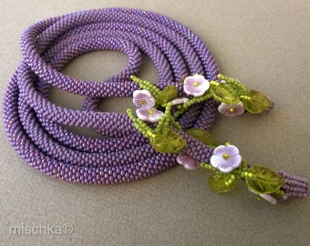 Crocheted bead necklace - Purple and Green Lariat