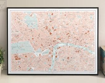 London, UK city map giclee print (70 x 50 cm)