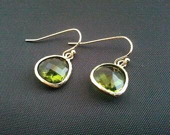 Dark Apple Green Gold Earrings, Drop, Dangle, Glass Earrings, bridesmaid gifts,Wedding jewelry,birthstone earring