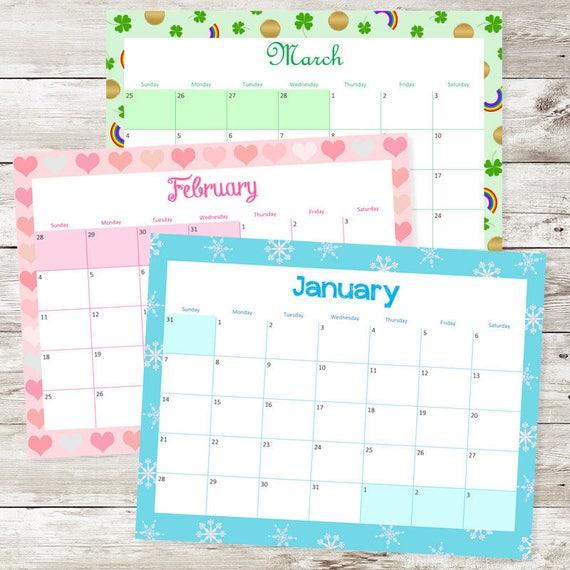 printable monthly calendars 2018 free