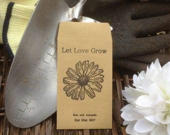 10 x Personalised Wedding Favour Seed Packets  - 'Sunflower'