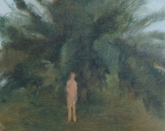 original oil painting / figure painting - the greeter