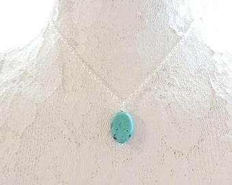 Boho Turquoise Oval Necklace, Turquoise Necklace, Pendant Necklace, Gemstone Necklace, Layering Necklace