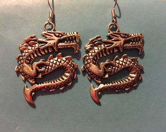Large Silver Tone Dragon Earrings  Y65
