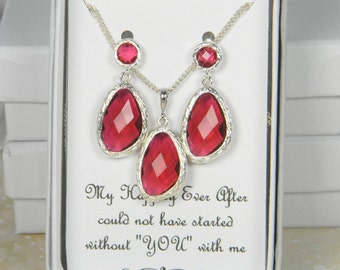Ruby Red / Silver Drop Bridesmaids Necklace Set, Red Jewelry Gift Set, Red Bridesmaid Set, Christmas Wedding , Red Wedding EG1