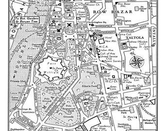 Nashville city map 1949 vintage map of nashville blueprint map 1949 vintage map of downtown calcutta kolkata india 11x17 print poster malvernweather Gallery