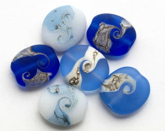 Blue and White Lampwork Beads Etched Glass Bead Set