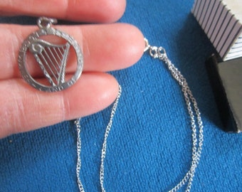 Vintage 1960s Sterling Silver NOS Necklace No.6 with Harp Charm Pendant New Old Stock