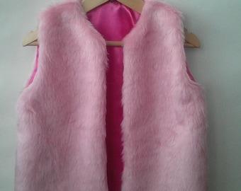 Faux Fur Child Gilet - Bubble Gum Pink