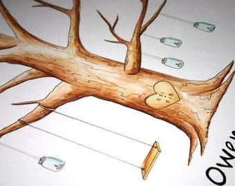 Mason Jars Wedding guestbook Thumb Print Tree guest book. Original Water Color Illustration ADD-ON Mason Jars