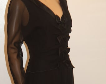 Vtg Holly Sharp Silk Evening Dress Sheer Sleeves Beautiful Details Bows Excellent