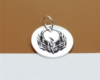 925 Sterling Silver Phoenix Charm 17mm, Custom Disc Charm for Necklace Bracelet Key Chain - C65
