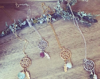 Dream Catcher Necklace with Tiny Stone Drop