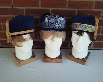 Victorian gentlemen's navy blue smoking/lounging caps