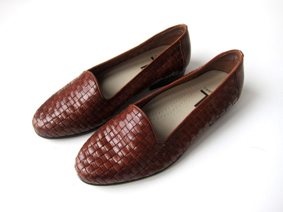 Woven Leather Shoes 90s Brown Leather Slip Ons Woven Leather Sandals Modern Braided Minimal Chic Loafers Womens Size 7 W