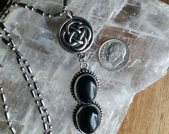 Silver Black Onyx Stone Celtic Pendant Necklace
