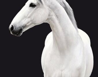 Gray Horse Painting Print