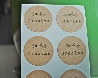 60 -MUCHAS GRACIAS- Kraft round labels/seals