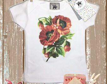 Retro Baby, Red Poppies, Retro Shirt, Poppy Shirt, Flowers Shirt, Baby Girl, Vintage Graphic, Retro Baby Gift, Shower Gift, Baby Gift