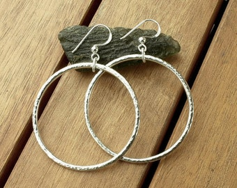 Large silver hoop earrings | hammered silver earrings | 2 mm | dangling silver earrings | hoops | 2"