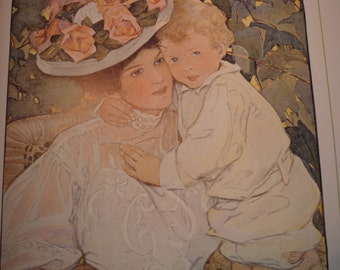 Mothers Day Print - Auntie - Jessie Willcox Smith Color Litho poster 10.5 by 14 inch ephemera - Nursery Art - gift for mothers