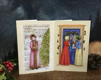 Jane Austen Christmas Holiday Cards 10 - 2 designs  - Envelopes included