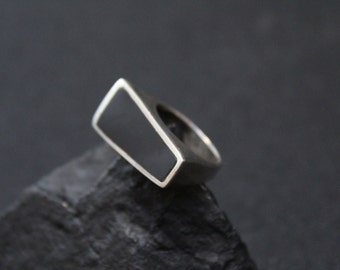 Sterling Silver Modernist Geometric Onyx Inlay Ring