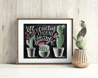 Cactus Print, Succulent Print, Cactus Art Print, Cactus Wall Art, Life Is Like A Cactus, Cactus decor, Chalk Art, Chalkboard Art,