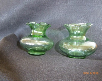 Small Vintage Green Vases