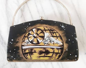 Death Star Inspired Upcycled Vintage Gold Fabric Mini Clutch